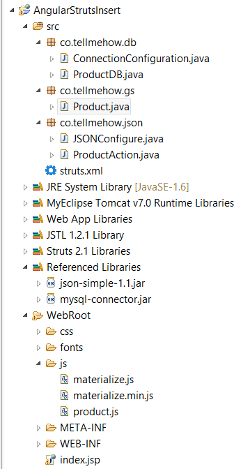 Project directory : Struts2 AngularJS Insert Operation