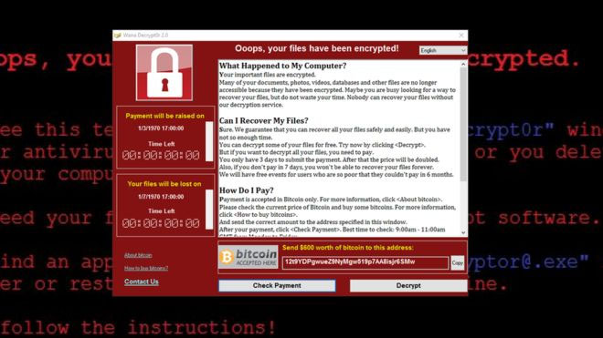 Ransomware or WannaCry Virus Example