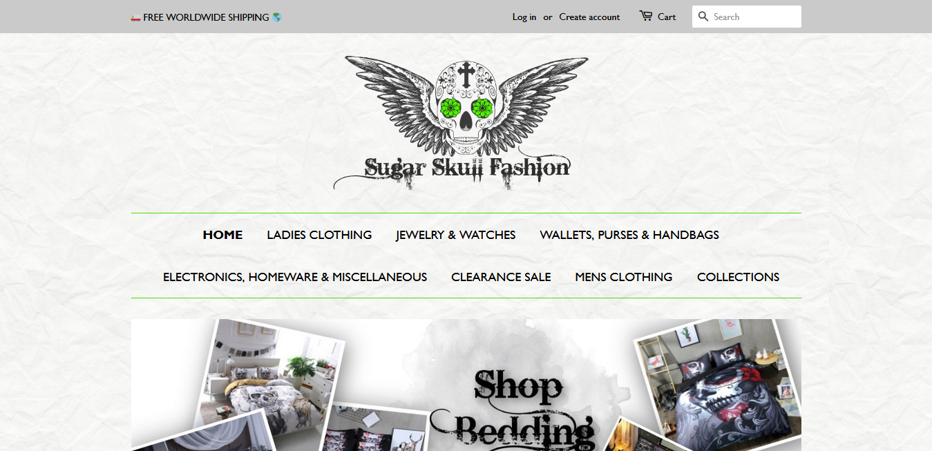Sugar Skull Fashion store's homepage. TellMeHow